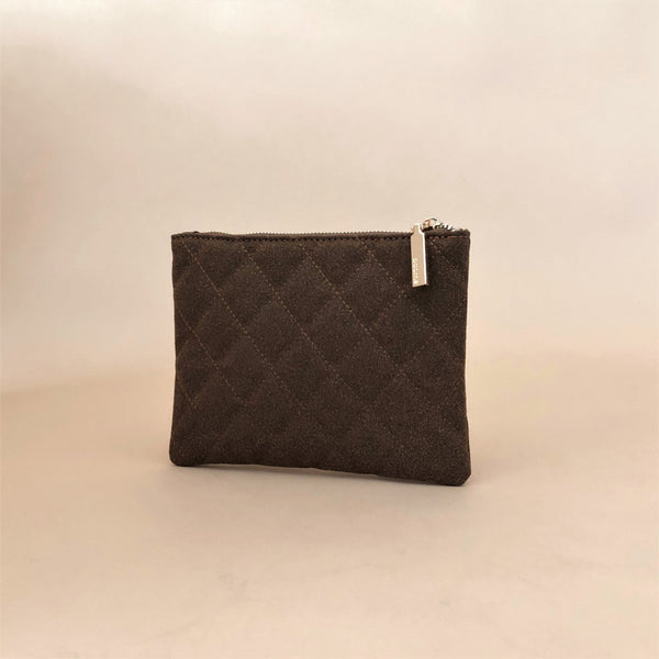Vegan Suede quilted zip up Pouch bag in Chocolate