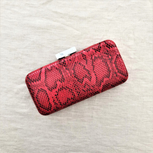 Bag - Reptile Resin Clasp structured Clutch in Red - sammi