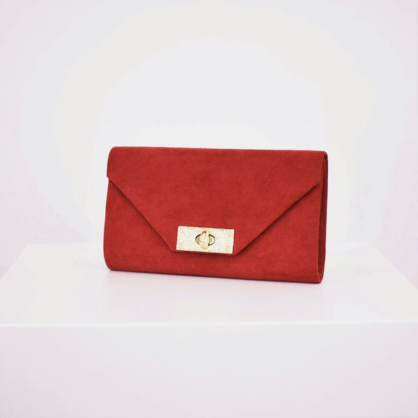 Bag - Raspberry Micro Suede Beaten Clasp Fold over Clutch - sammi