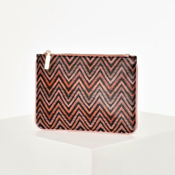 Seventies Chevron Print Zip up Clutch bag
