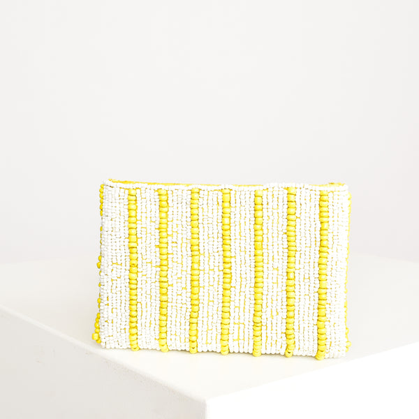 Bag - Yellow and White Pin Stripe Beaded Purse
