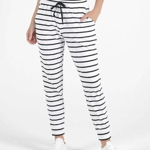 Betty Basics Black and White stripe Jogger