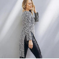 Ebby and I Long Grey and Black Leopard Print Top