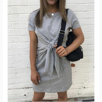 Most - Grey cotton tie up dress.