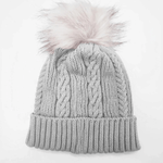 Hat - Cable Knitted Beanie with fur pom pom available in two colours.