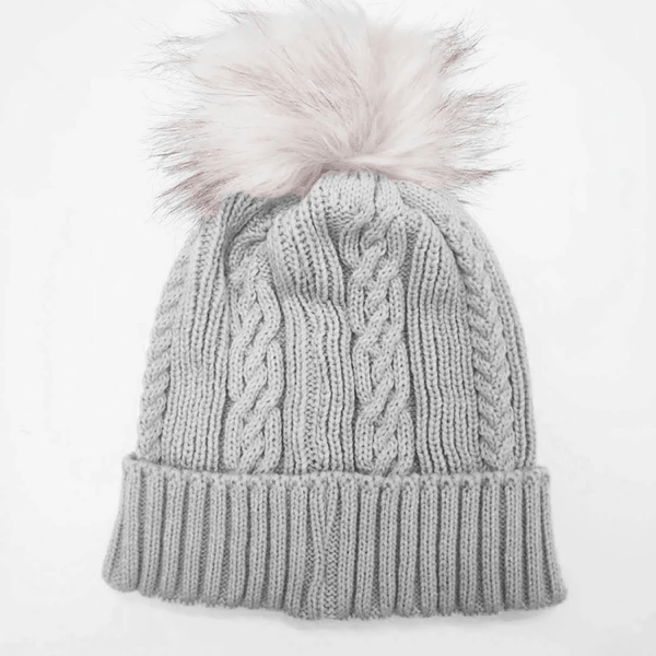Hat - Cable Knitted Beanie with fur pom pom available in two colours. - sammi