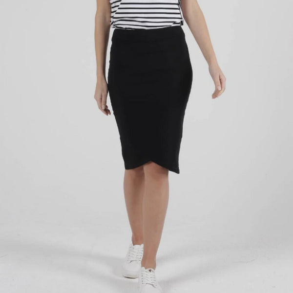 BETTY BASICS - Siri Skirt in Black and Blue Stone
