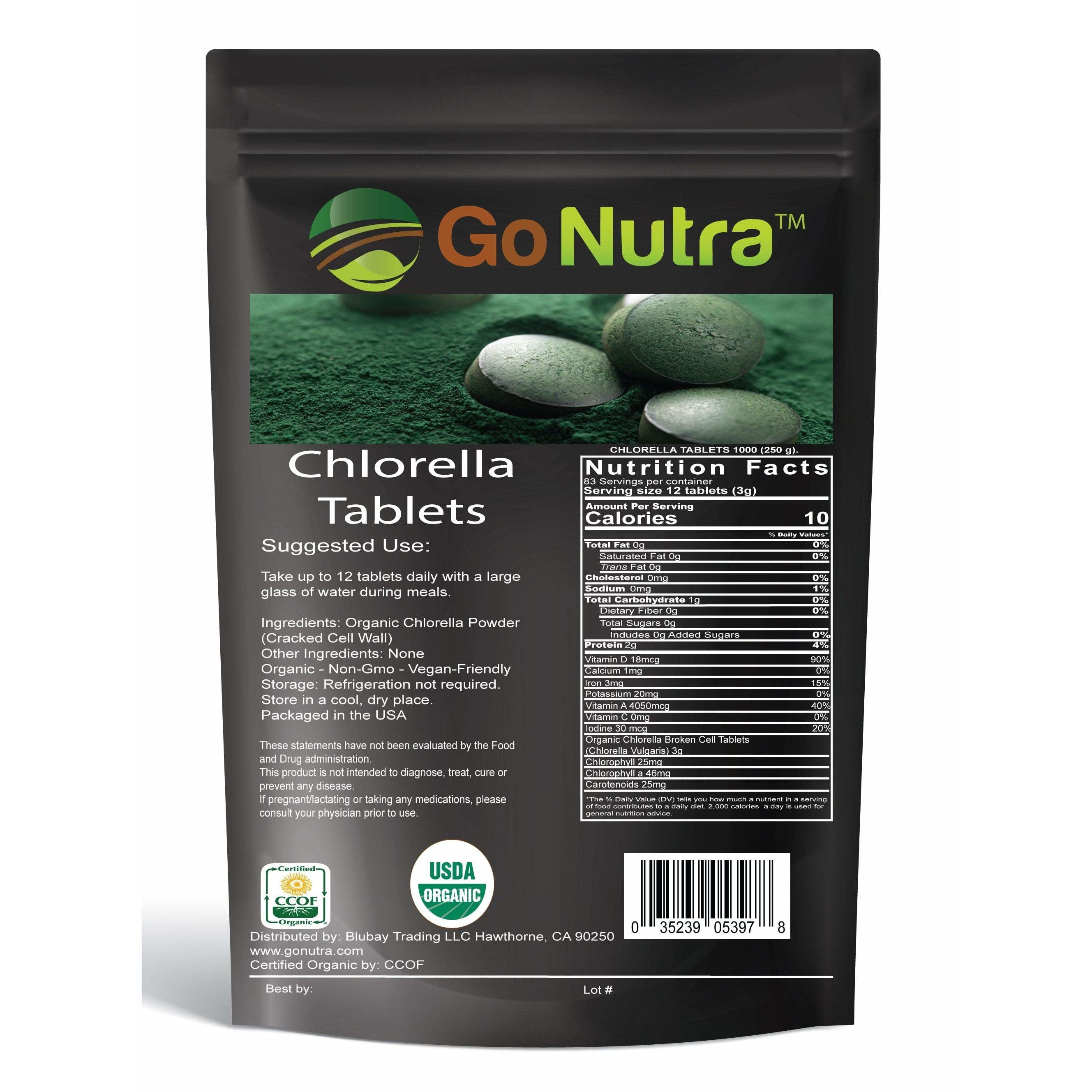 Organic Chlorella Tablets 1000 Tablets Superfood