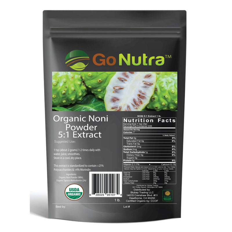 Organic noni powder is loaded with antioxidants polysaccarhides amino acids vitamins and minerals