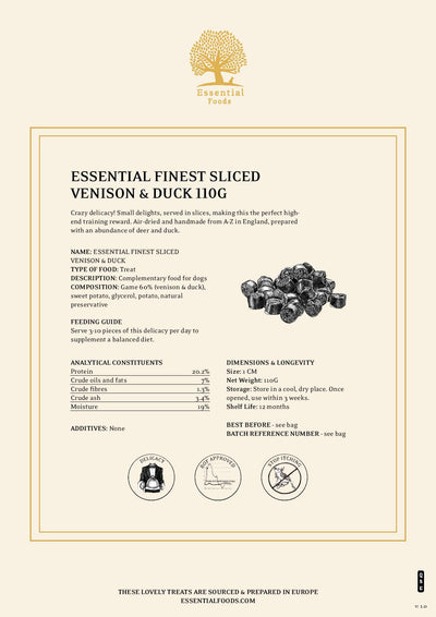 ESSENTIAL FINEST SLICED VENISON & DUCK SAUSAGES 110G