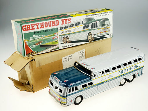 Vintage 1950s Tin Friction Greyhound Bus Super Scenicruiser Japan w/ Boxes MINT!