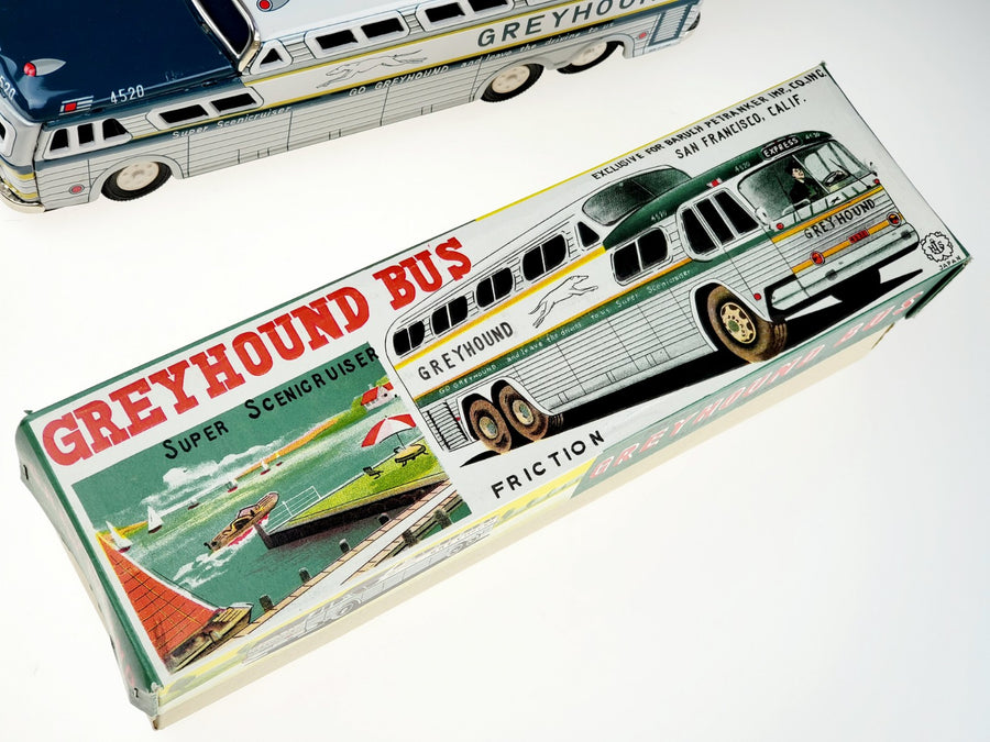 Vintage 1950s Tin Friction Greyhound Bus Super Scenicruiser Japan w/ Boxes MINT! - Aces In Action