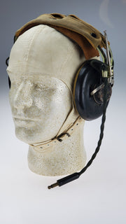 WWII US Navy White Cloth Summer Pilot Helmet + NAF 48490-1 Headset - Aces In Action