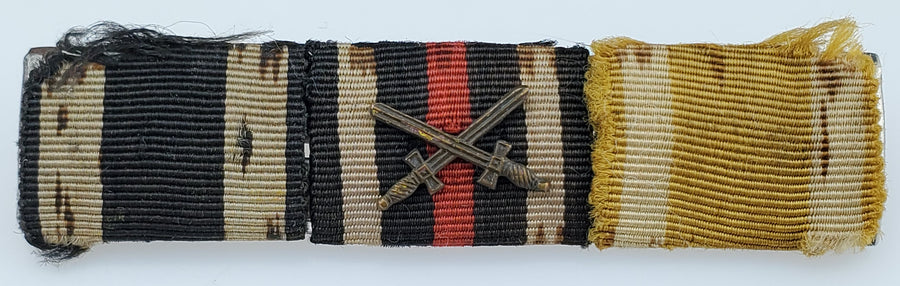WWI German Ribbon Bar Set - Includes: Iron Cross, Combatants Cross of Honor with Swords, and Saxon Freidrich August Medal - Aces In Action