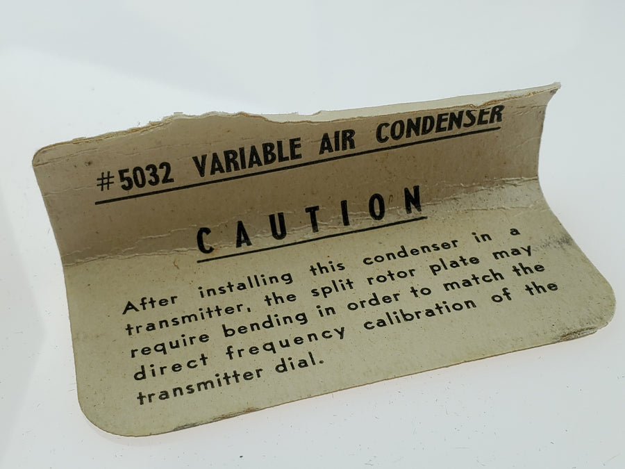 WW2 Vintage Variable M.O. Tuning Capacitor Part No 5032 + Original Box & Card - Aces In Action