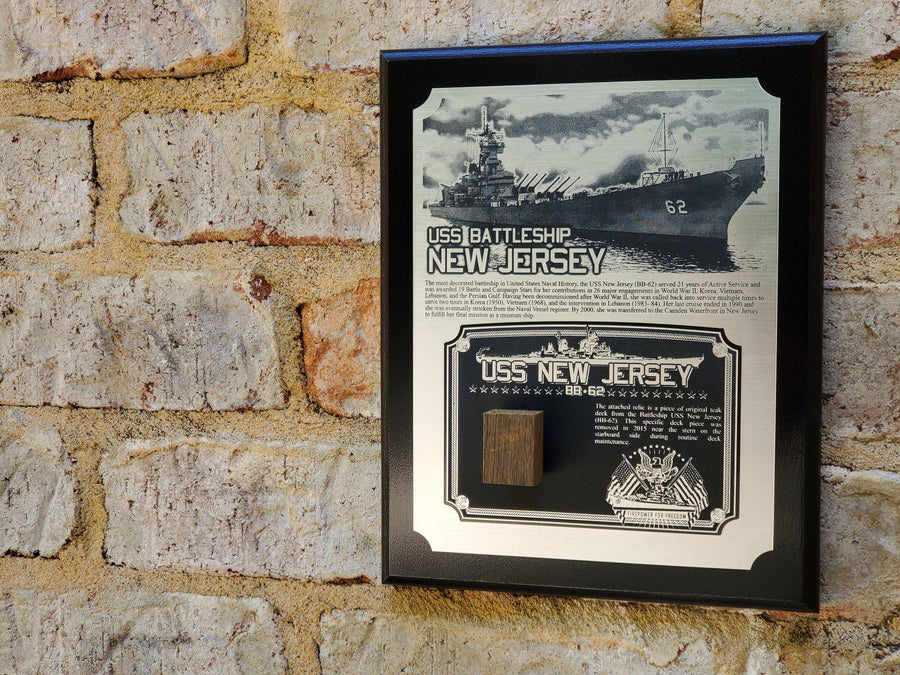 WWII USS New Jersey Battleship Plaque - w/ Actual Relic & COA - Ltd. Qtys. - Aces In Action