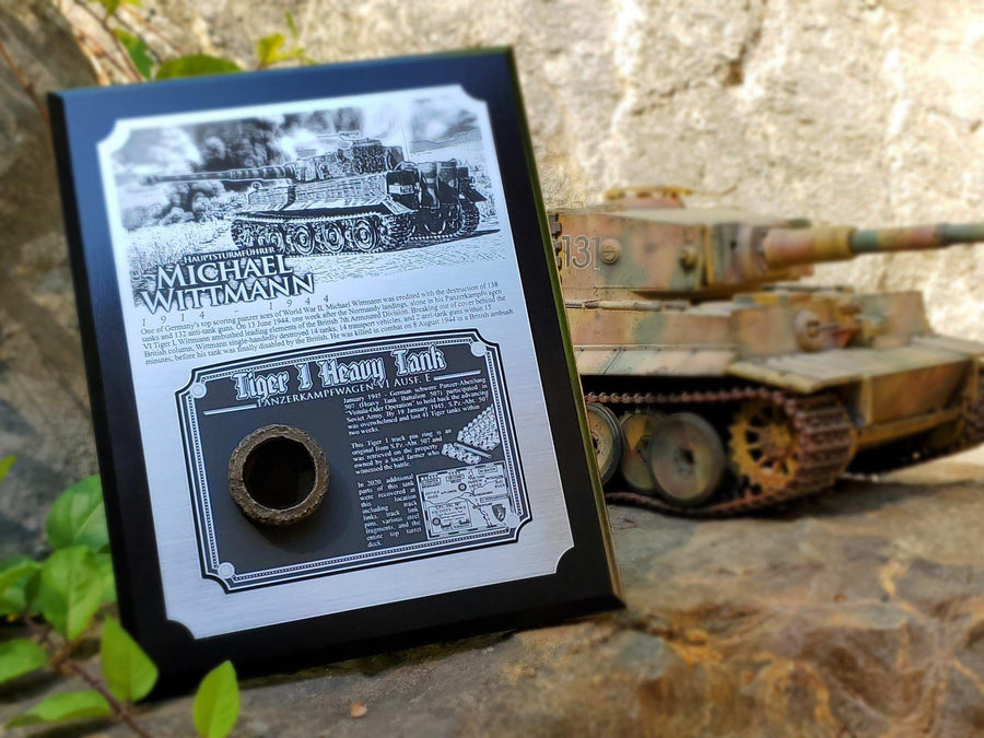 WWII Michael Wittmann Tiger I Plaque - w/ Actual Relic & COA - Ltd. Qtys. - Aces In Action