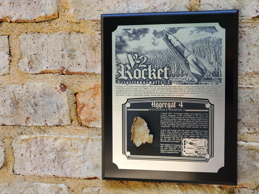 WWII German V-2 Rocket Historical Plaque - w/ Actual Relic & COA - Ltd. Qtys. - Aces In Action