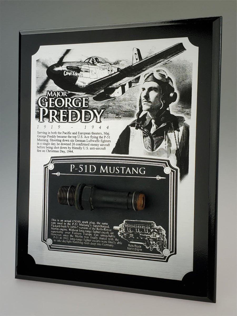 WWII George Preddy P-51 Mustang Plaque - w/ Actual Relic & COA - Ltd. Qtys. - Aces In Action