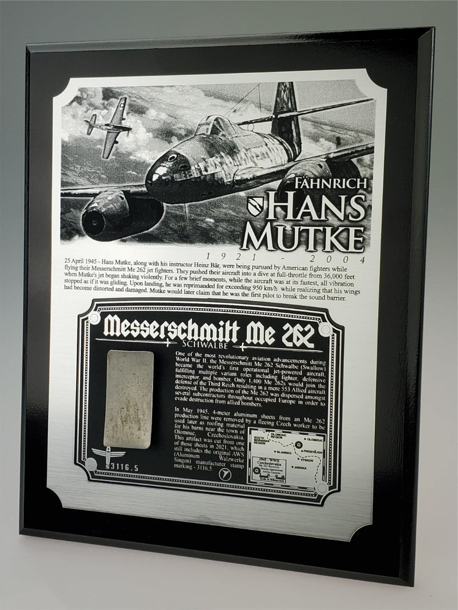 WWII Hans Mutke Luftwaffe Me 262 Jet Plaque - w/ Actual Relic & COA - Ltd. Qtys. - Aces In Action