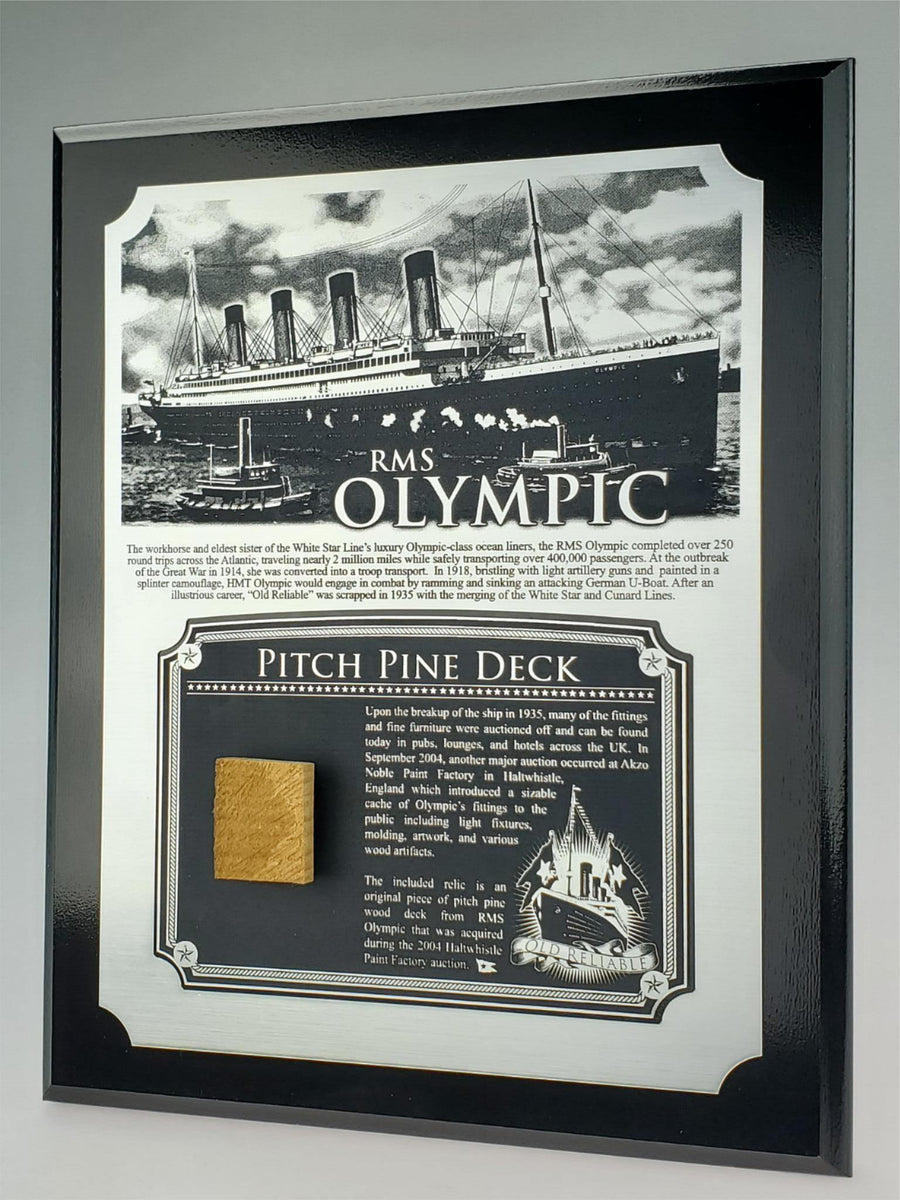 White Star Line RMS Olympic Plaque - w/ Actual Deck Reclic & COA - Ltd. Qtys. - Aces In Action