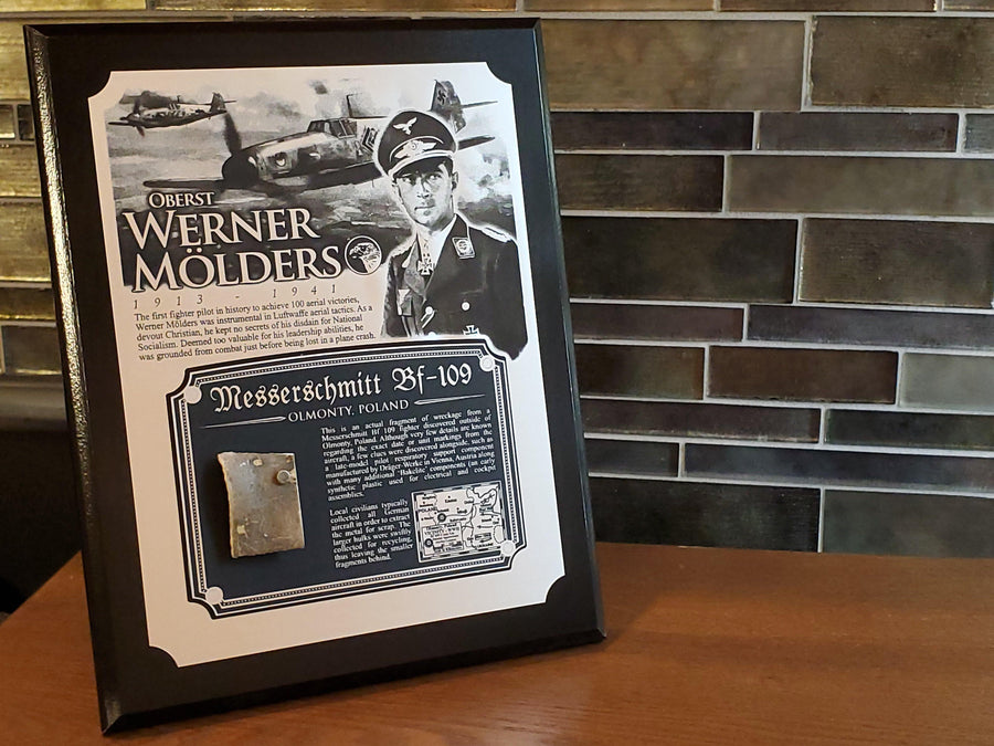 WWII Werner Mölders Me 109 Bf 109 Plaque - w/ Actual Relic & COA - Ltd. Qtys. - Aces In Action