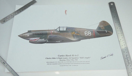 Tom Tullis Fine Art Print - Flying Tiger P-40B Curtiss Warhawk - Signed!!!