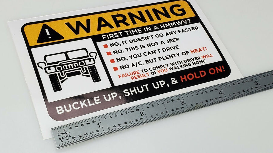 HMMWV Humvee M998 Visor WARNING Vinyl Automotive Decal/Sticker - Aces In Action