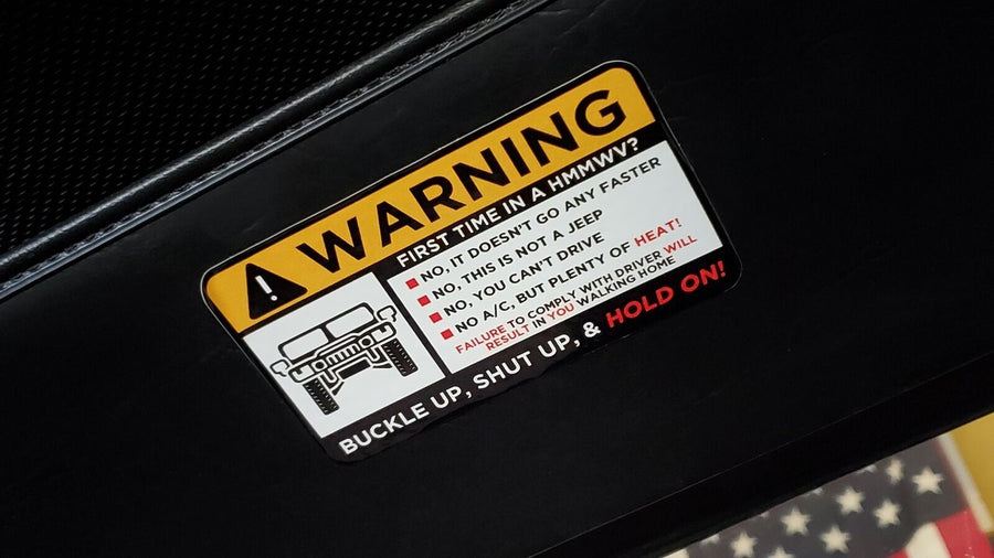 HMMWV Humvee M998 Visor WARNING Vinyl Automotive Sticker/Decal - Aces In Action