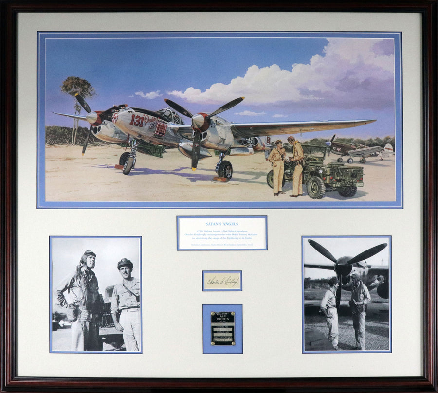 Satan's Angels + Charles Lindbergh Autograph + First P-38H Data Plate - Aces In Action