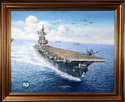 """U.S.S. Enterprise CV-6"" Original Oil by Artist Tony Fachet - Aces In Action"