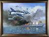 """The Attack and Sinking of the Musashi"" Original Oil by Artist Tony Fachet - Aces In Action"