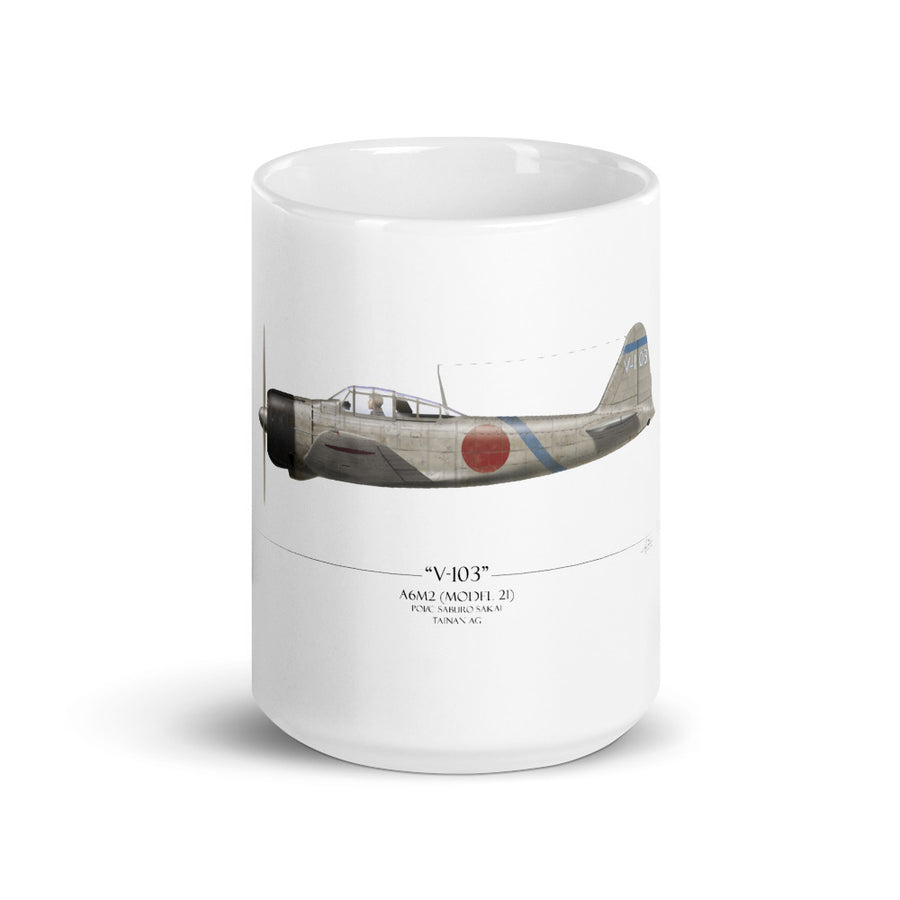 Saburo Sakai A6M2 Zero Coffee Mug by Artist Craig Tinder - Aces In Action