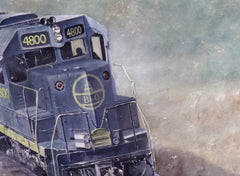 Tony Fachet Original Oil - Baltimore & Ohio Train/GP40 Locomotive 18x24
