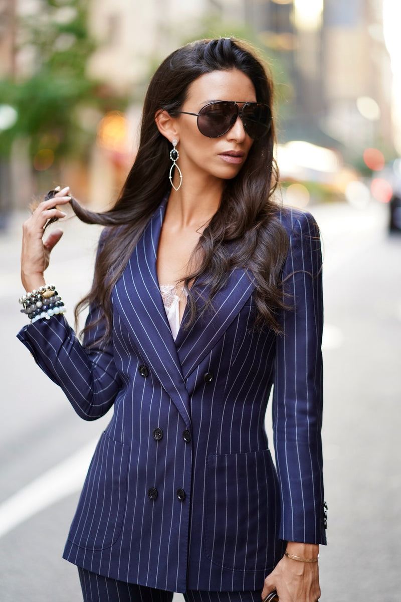 Navy All-Season Pinstripe Jacket