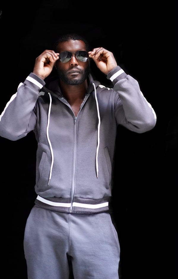 Grey Cotton Fleece Sweatsuit