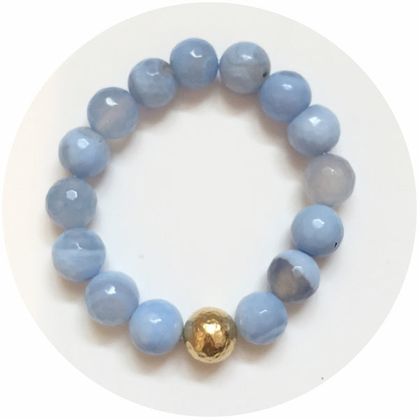 Serenity Blue Agate with Hammered Gold Accent - Oriana Lamarca LLC