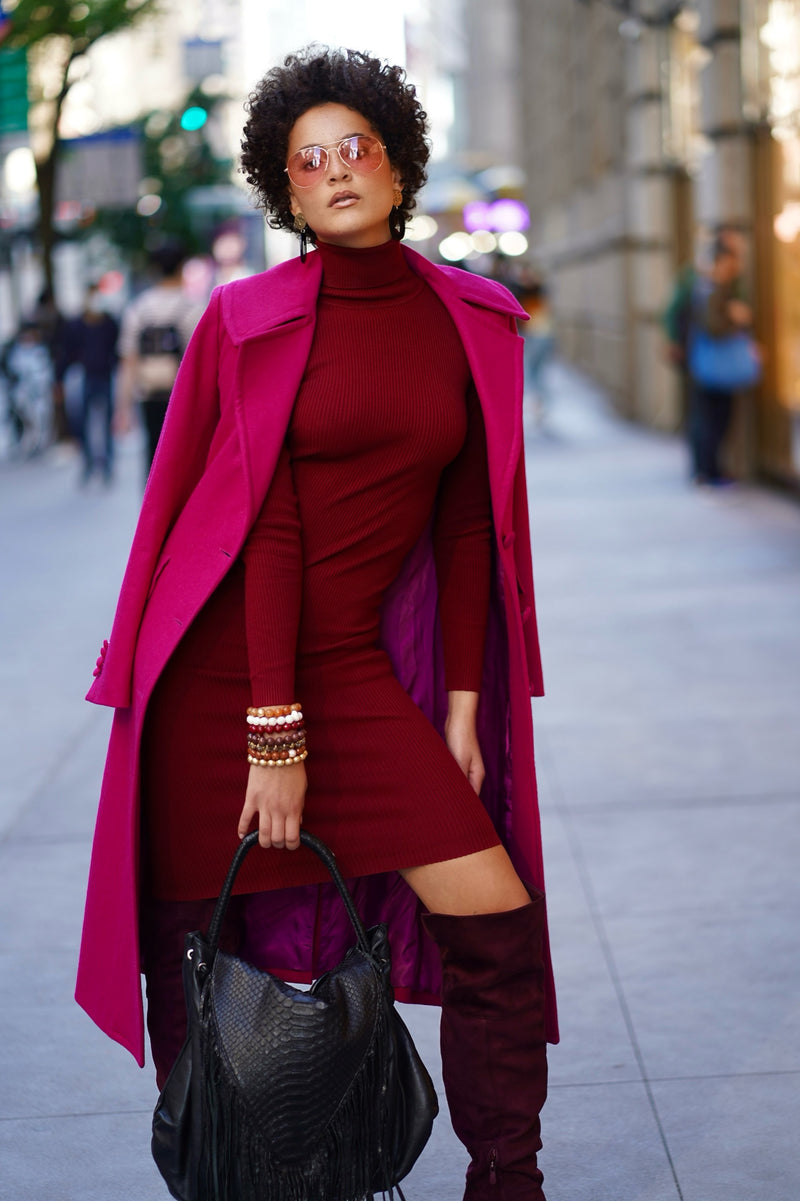 Knit Burgundy Sweater Dress