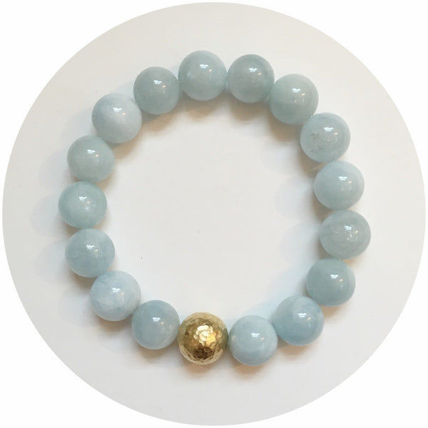 Aquamarine with Hammered Gold Accent - Oriana Lamarca LLC