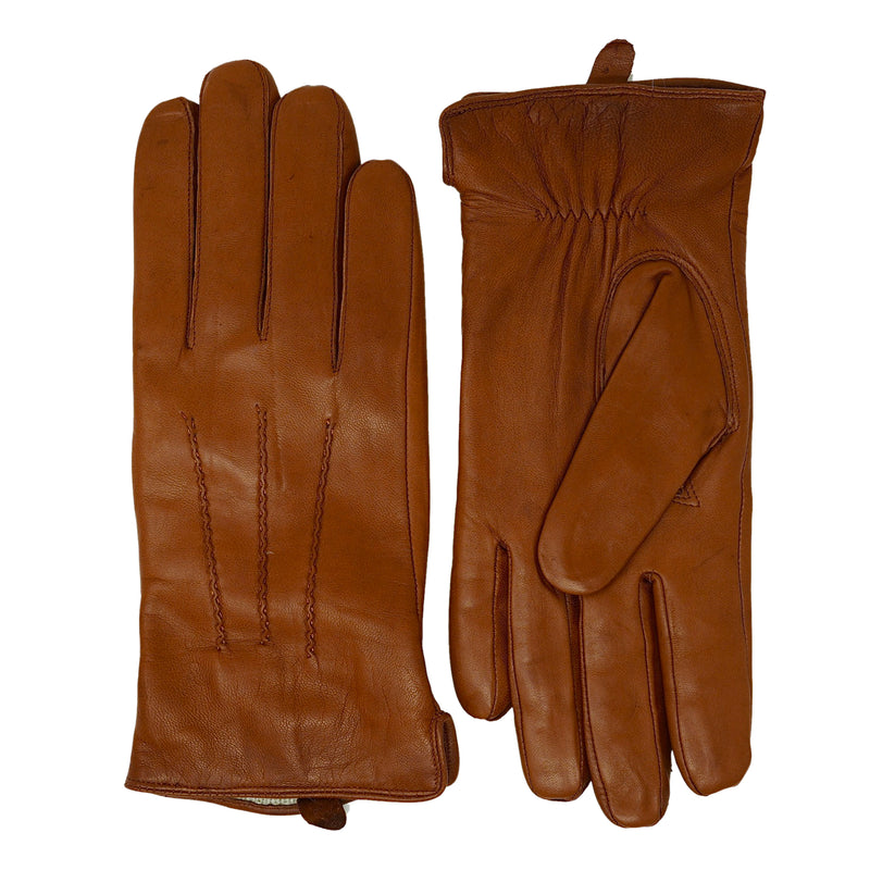 Cognac Leather Cashmere Lined Gloves
