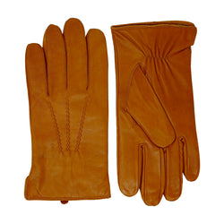 Tan Leather Cashmere Lined Gloves