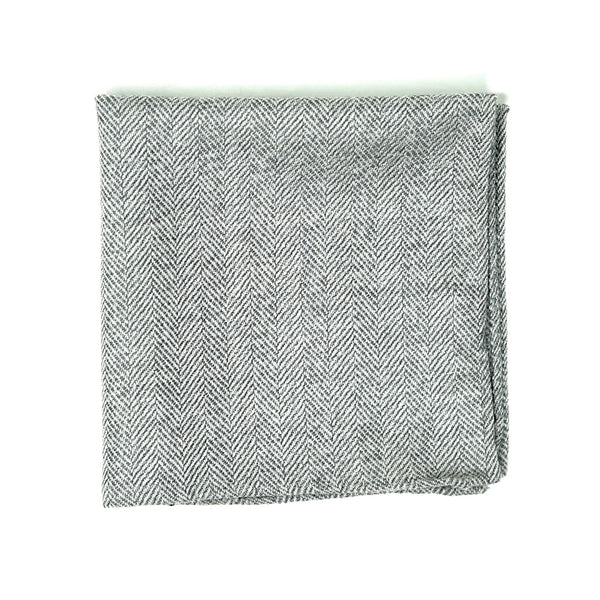 Herringbone Fog Pocket Square