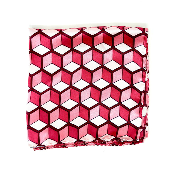 Crimson Geometry Pocket Square