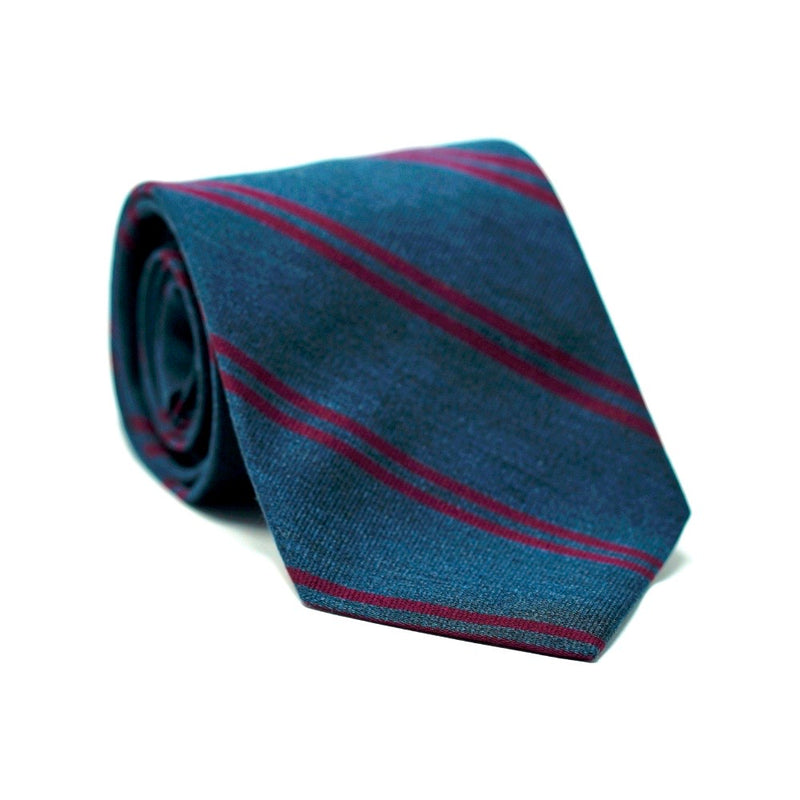 Grey & Burgundy Stripe Tie