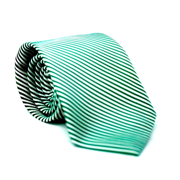 Green & White Stripe Tie