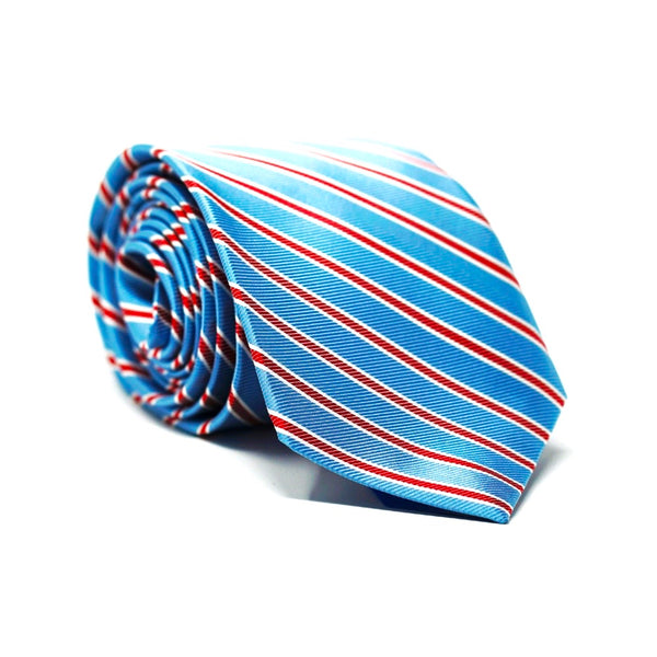 Baby Blue & Red Stripe Tie