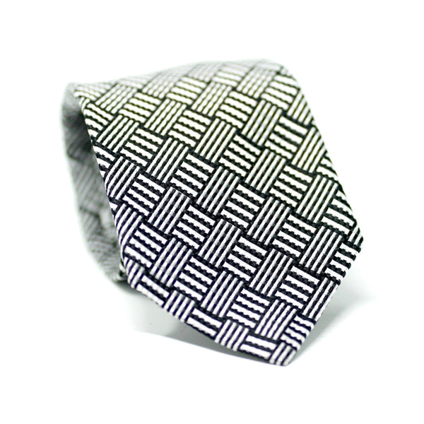 Black & White Basketweave Tie