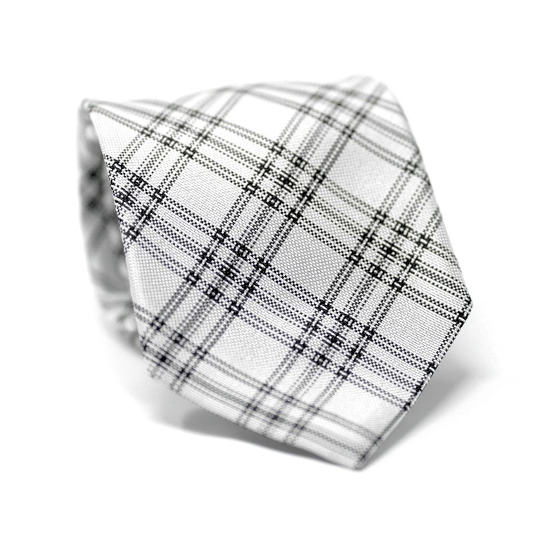 Black & White Grey Double Plaid Tie