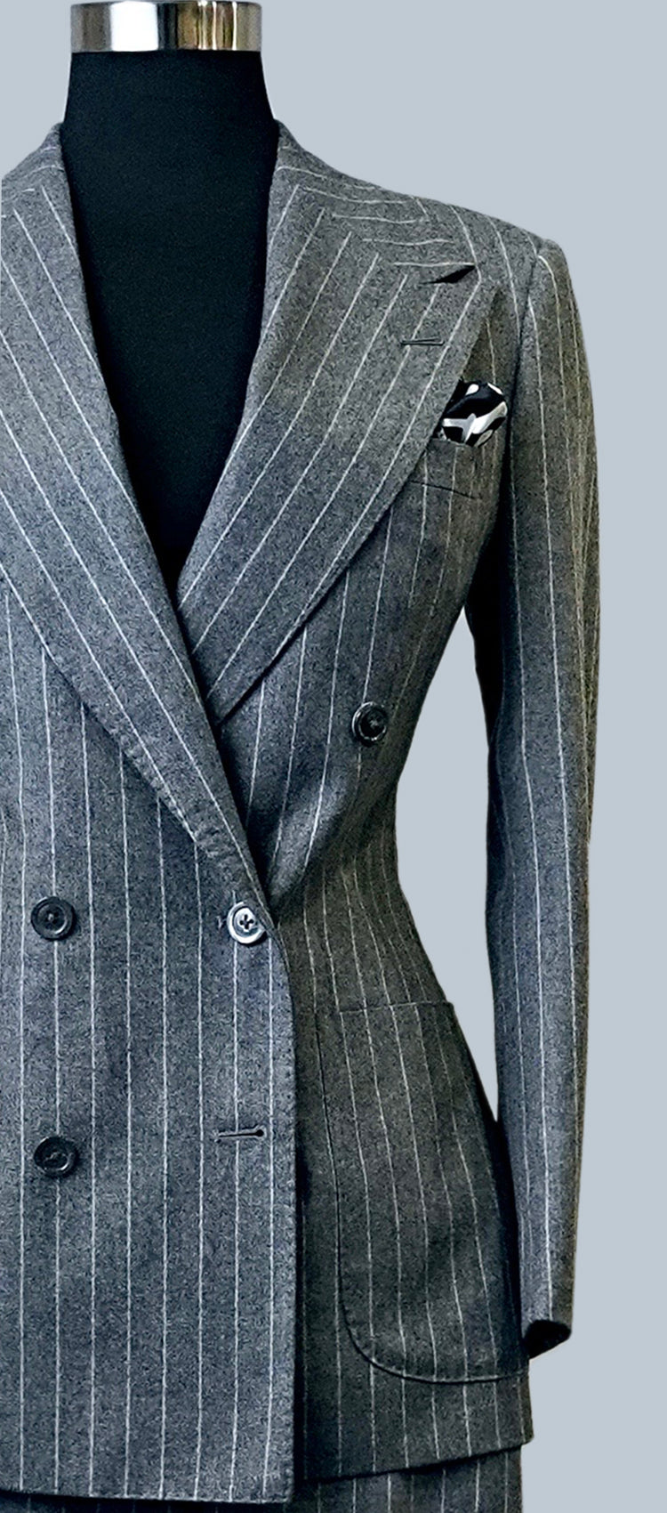 Charcoal Grey Flannel Pinstripe Suit