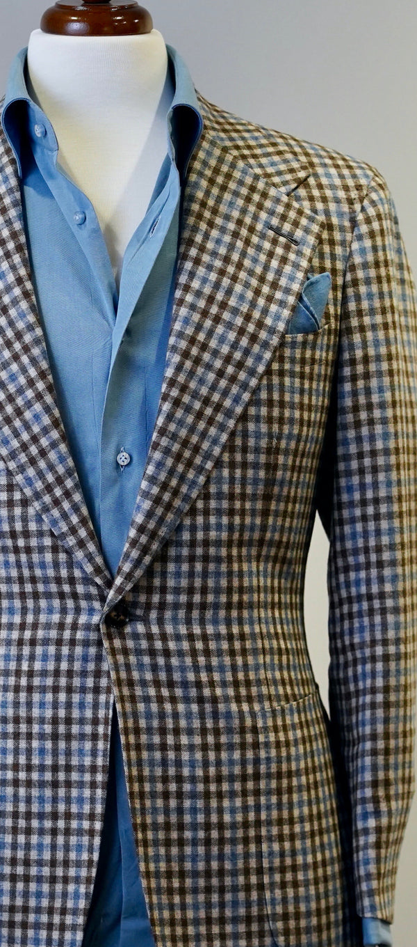 Brown & Baby Blue Tattersall Jacket